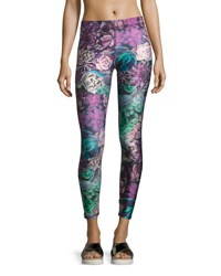 Terez Purple Succulent Performance Capri Leggings Purple Pattern