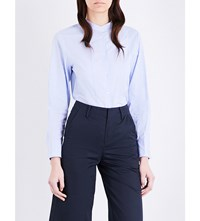 Moandco. Striped Cotton Poplin Shirt Blue And White