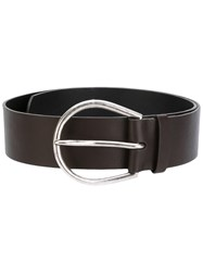 Maison Martin Margiela Circular Buckle Belt Women Leather M Brown