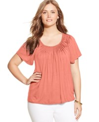 Styleandco. Style And Co. Plus Size Short Sleeve Pleated Top Peach Zing