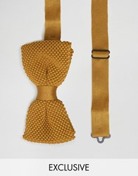 Noose And Monkey Knitted Bow Tie Mustard Yellow