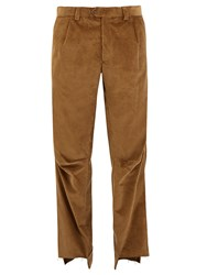 Vetements Darted Knee Cotton Corduroy Trousers Light Brown
