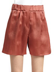 Brunello Cucinelli Silk Satin Shorts Rouge