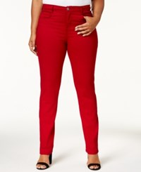 Style And Co Co. Plus Size Tummy Control Slim Leg Jeans Created For Macy's Deep Scarlet