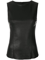Drome Fitted Leather Top Black