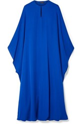 Reem Acra Draped Silk Georgette Midi Dress Royal Blue