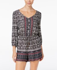American Rag Printed Drawstring Romper Only At Macy's Classic Black Combo