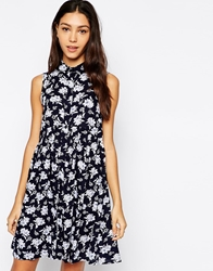 Influence Ditsy Floral Print Sleeveless Shirt Dress Black