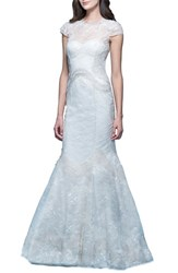 Women's Carolina Herrera 'Jessica' Illusion Cap Sleeve Chantilly Lace Mermaid Gown Ivory