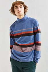 Urban Outfitters Uo Box Fit Stripe Mock Neck Long Sleeve Tee Navy