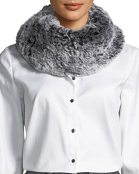 Surell Stretch Knit Short Fur Infinity Scarf Black Frost