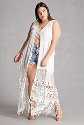 Forever 21 Plus Size Tassels N Lace Vest