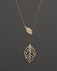 Bloomingdale's Diamond Leaf Pendant Necklace In 14K Yellow Gold .65 Ct. T.W.