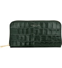 Aspinal Of London Continental Crocodile Embossed Leather Clutch Wallet Forest Green