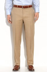 Men's Big And Tall Canali Flat Front Wool Trousers Taupe