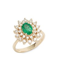Effy Emerald Diamond And 14K Yellow Gold Blooming Lotus Ring