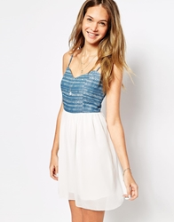 Pussycat London Skater Dress With Contrast Bodice Blue
