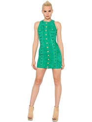 Balmain Sleeveless Suede Dress W Lace Up Detail