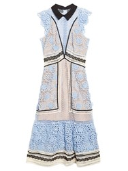 Self Portrait Floral Guipure Lace Panelled Midi Dress Blue Multi