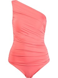 Brigitte One Shoulder Draped Swimsuit Yellow And Orange