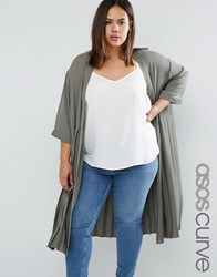 Asos Curve Longline Soft Blazer With Pleated Back Olive Green