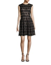 Vince Camuto Pleated Lace Fit And Flare Dress Black Taupe