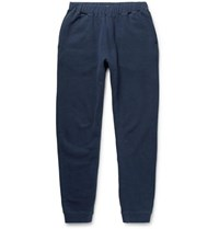Sunspel Tapered Brushed Loopback Cotton Jersey Sweatpants Navy