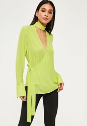 Missguided Green Choker Neck Tie Side Long Sleeve Blouse Lime