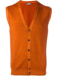 Barba Button Down Knitted Waistcoat Yellow And Orange