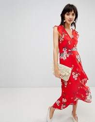 Warehouse Midi Dress With Ruffle Detail In Floral Print Red