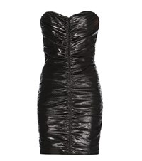Saint Laurent Metallic Ruched Mini Dress Black