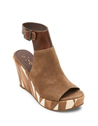 Matisse Harlequin Geometric Suede Wedge Sandals Taupe
