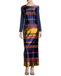 Trina Turk Striped Long Sleeve Maxi Dress Navy Multi