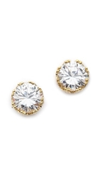 Kenneth Jay Lane Round Cz Stud Earrings Clear Gold