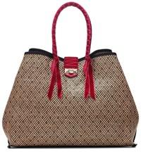 Jimmy Choo Marianne Xl Raffia And Tote Beige