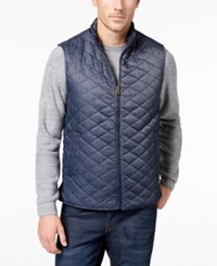 Weatherproof Vintage Men's Quilted Full Zip Stand Collar Vest Created For Macy's Navy