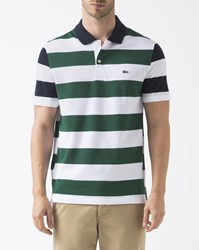 Lacoste Blue White Green Striped Polo Shirt Multicolour