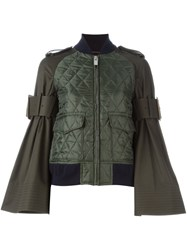 Sacai Quilted Bomber Jacket Green