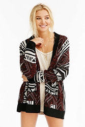 Ecote Patterned Intarsia Open Front Cardigan Brown
