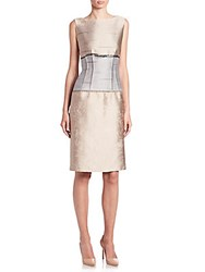 Lafayette 148 New York Jacquard Sleeveless Verona Dress Taupe Multicolor