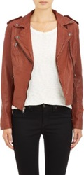 Barneys New York Lambskin Moto Jacket Brown
