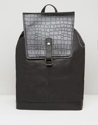 Asos Leather Backpack With Sleek Fastening Black