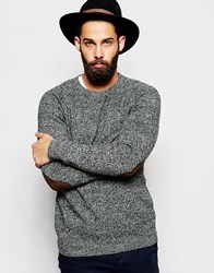 Asos Lambswool Rich Crew Neck Jumper With Elbow Patches Greytwist