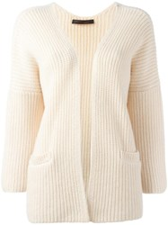 Incentive Cashmere Open Cardigan White