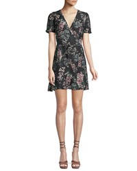Cupcakes And Cashmere Dezzi V Neck Short Sleeve Floral Print Short Dress Black