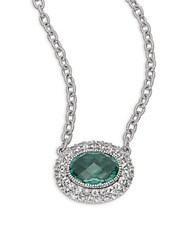 Judith Ripka Sapphire Quartz And Sterling Silver Oval Isabella Pendant Necklace
