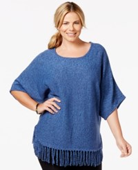Ny Collection Plus Size Knit Fringe Poncho Sweater Blue Marl