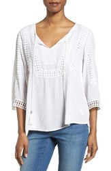 Kut From The Kloth Women's Lace Trim Gauze Blouse
