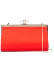 Marchesa Embellished Clasp Clutch Red