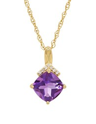Lord And Taylor Amethyst Diamond 14K Yellow Gold Pendant Necklace